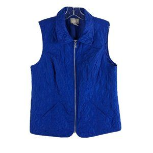 Chicos Full Zip Quilted Vest Blue Collared Small